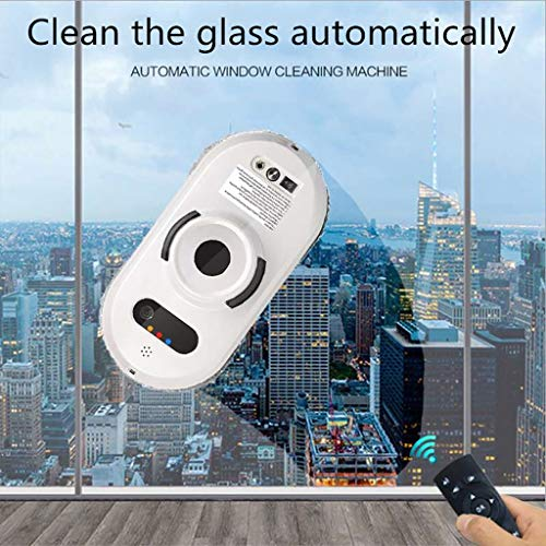 Efaster Window Cleaning Robot Intelligent Remote Control Electric Wiping Machine,Smart Glass Cleaning Robotic Technology App & Remote Powered Washer for Table High Windows Ceiling Magnetic (White)