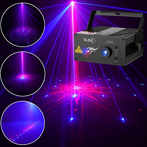 SUNY Laser Lighting 8 Gobos Effect Red Blue DJ Laser Light Blue LED Music Laser Projector Remote Control Sound Activated Stage Lighting Dance House Decoration Xmas Holiday Event Party Carnival Show