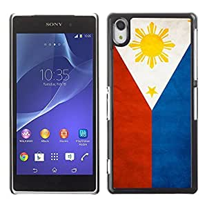 LJF phone case Shell-Star ( National Flag Series-Philippines ) Snap On Hard Protective Case For SONY Xperia Z2 / D6502 / L50W