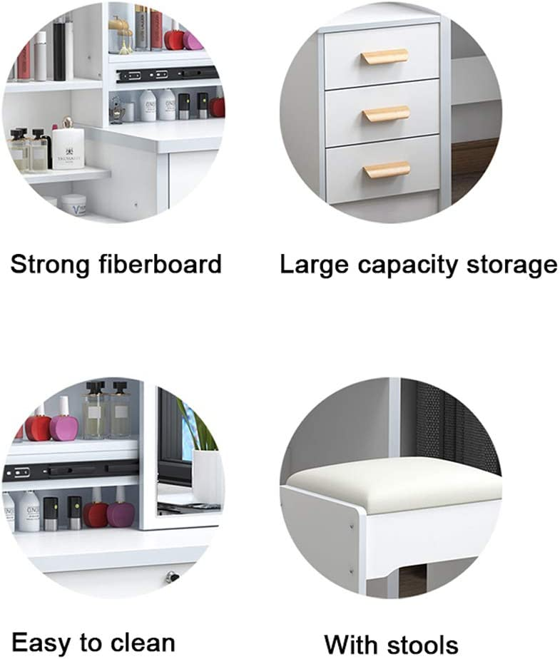 White Dressing Table Vanity Desk with Mirror and Stool and 4 Drawers Modern Makeup Table