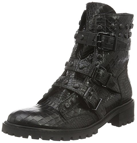 Bescherming Dames Trendy Winter Navy Biker Boots Black (zwart)