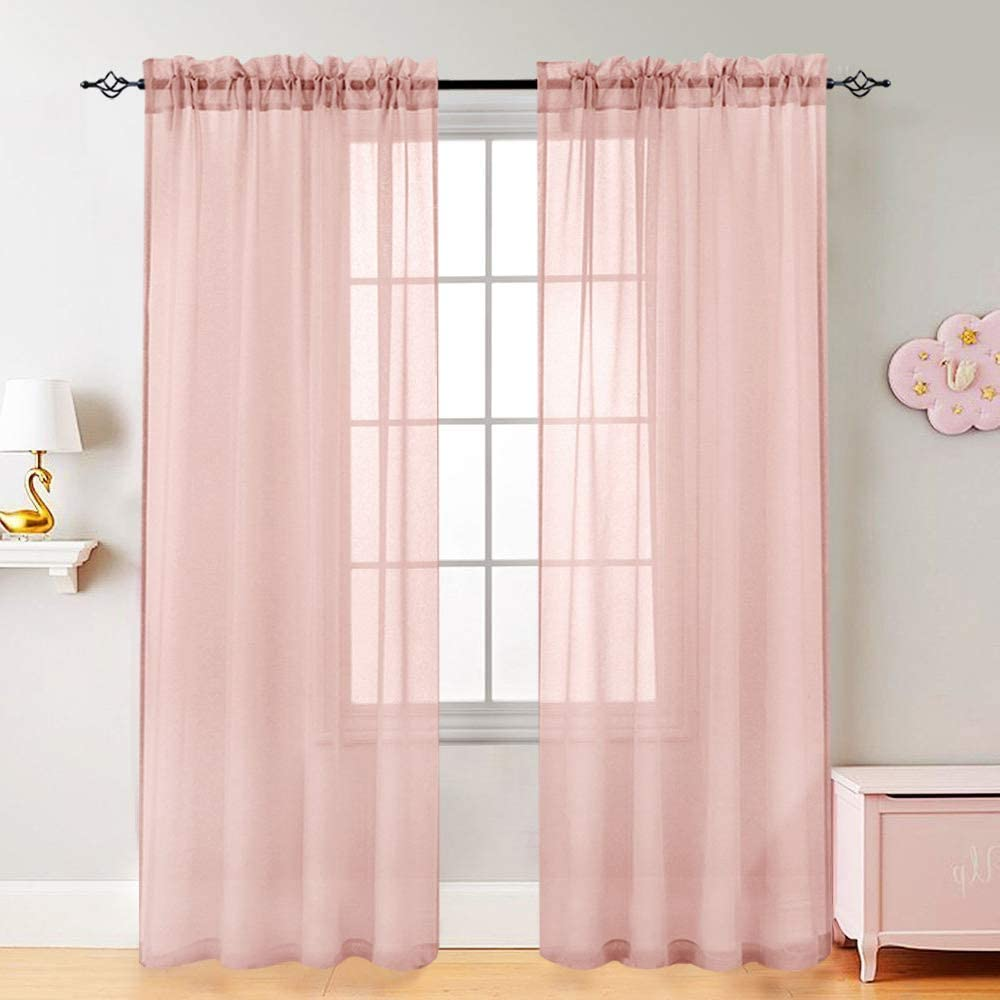 Voile Curtains for Living Room Window Curtian Panels 95 Inch Length Rod Pocket Window Treatment Set for Bedroom Drapes 2 Panels Pink