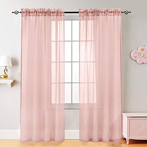 Voile Curtains for Living Room Window Curtian Panels 84 Inch Length Rod Pocket Window Treatment Set for Bedroom Drapes 2 Panels Pink