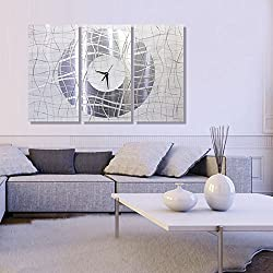 Extra Large Silver & White Metal Wall Clock - Modern Abstract Home Décor - Contemporary Vibrations XL by Jon Allen - 62-inch