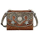 American Western Handtooled Leather Try Fold Wallet Cross Body Clutch Bag Purse Light Bundle - (Antiquied Brown)