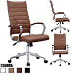 2xhome Brown Mid Century Modern High Back Tall Ribbed PU Leather Swivel Tilt Adjustable Office Chair Desk Designer Boss Executive Management Manager Office Conference Room Work Task Computer Desk