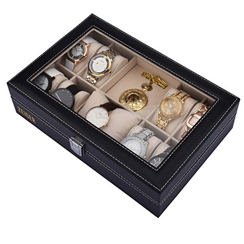 Zeiger Mens Women Jewelry Watch Storage Display Box Upgrade Large Holder Decorative Faux Leather Watch Case and Glass Top 10 Slot Organizer S001 Black Christmas Gift (Leather Box Gift Display)