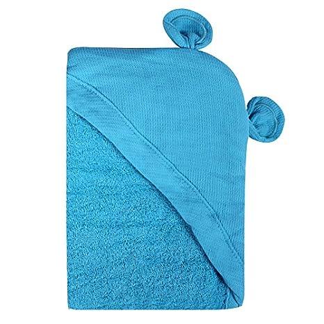 Minene - niños bebé baño toalla delantal con capucha con orejas de oso, 70 x 70 cm, Aqua: Amazon.es: Bebé