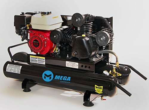 Gasoline Powered Air Compressor - 6.5 HP Honda GX200 Engine 10 Gallon Wheel Barrow by Mega Power