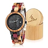BOBO Bird Women Wood Watches Colorful Wood WristWatches Week & Date Display Multifunction Handmade Quartz Watch Sport Chronograph Unique Wristwatch