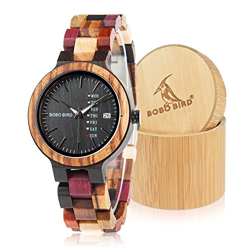 BOBO BIRD Women Wood Watches Colorful Wood WristWatches Week & Date Display Multifunction Handmade Quartz Watch Sport Chronograph Unique Wristwatch by BOBO BIRD