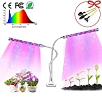Geemutu Plant Grow Light with Timing Function, 24W Full Spectrum Grow Lamp, Dual Head Gooseneck,3/6/12H Timer 6 Dimmable Levels Double Switch, Professional for Seedling Growing Blooming Fruiting
