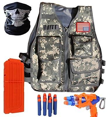 VOROSY Elite Tactical Vest Kit for Nerf N-Strike Elite Series,40-Dart Refill Pack,Seamless Skull face mask