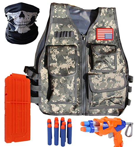 Tactical Firepower Airsoft Mask (VOROSY XMS427 Woodland Camo Elite Tactical Vest Kit for Nerf N-Strike Elite Series,Bullet Clip 12-Dart Refill Pack,Seamless Skull face mask,)