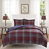 3 Piece Blue Red White Plaid Comforter Full Queen Set, All Over Multi Patchwork Checkered Bedding, Stylish Tartan Check Patch Work Lodge Cabin Themed, Country Woven Pattern, Dark Navy Burgundy
