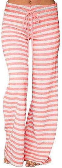 Memories Love Womens Yoga Trousers Fashion Stripe High Waisted Wide Leg Pants