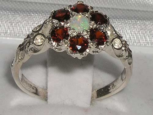 Victorian Ladies Solid Sterling Silver Natural Fiery Opal & Garnet Daisy Ring