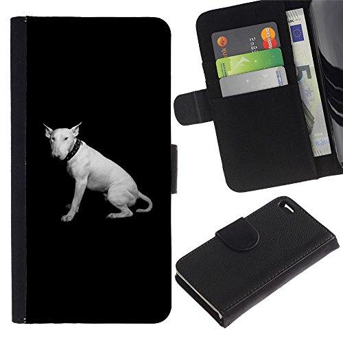 OMEGA Case / Apple Iphone 4 / 4S / bull terrier miniature black minimalist / Cuir PU Portefeuille Coverture Shell Armure Coque Coq Cas Etui Housse Case Cover Wallet Credit Card