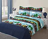 Golden Linens Full Size ( 1 Quilt, 2 Shams) Navy Blue Aqua Blue Trains Air plain Trucks Kids Teens/ Boys Quilt Bedspread 04-16 boys