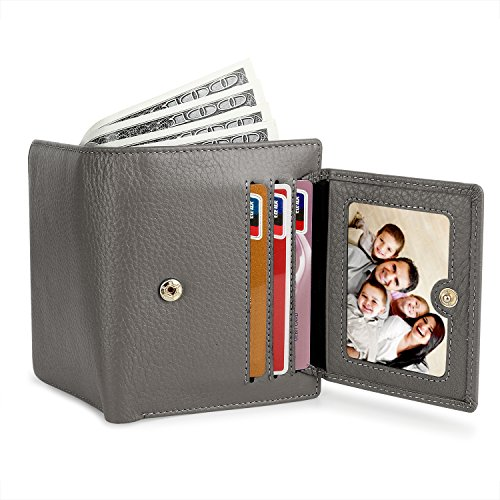 12 Card Holder Slots 2 ID Windows Small Genuine Leather Wallet for Women by YALUXE (Image #2)
