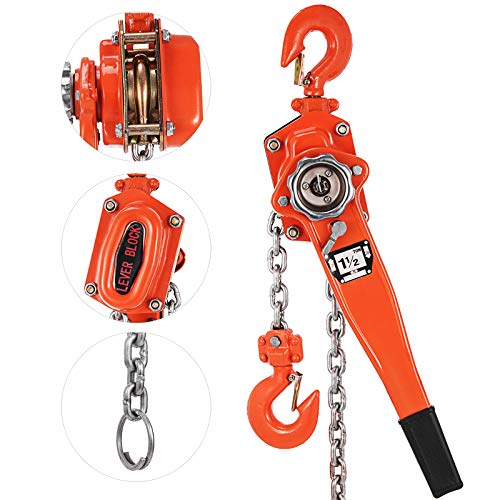 Happybuy 1-1/2 Ton Lift Lever Block Chain Hoist 5Feet Come Along Puller Lift Hoist (1-1/2 Ton 5ft)