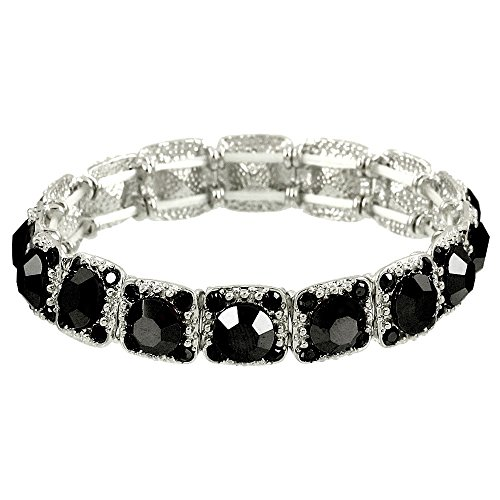 Falari Crystal Stretch Bracelet Wedding Bracelet (Black) B1534-JET Jet Gold Bracelets