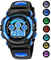 AZLAND 7 Colors Flashing Waterproof Outdoor Sports Kids Wristwatch Boys Girls Digital Watches Blue … by AZLAND