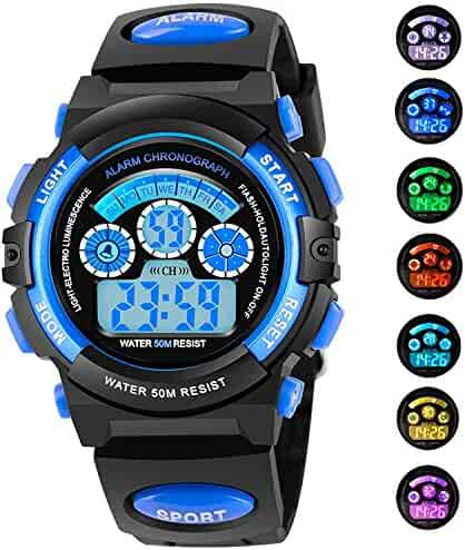 AZLAND 7 Colors Flashing Waterproof Outdoor Sports Kids Wristwatch Boys Girls Digital Watches Blue