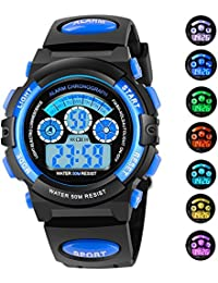 7 Colors Flashing Waterproof Outdoor Sports Kids WristWatch Boys Girls Digital Watches Blue