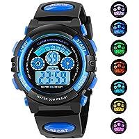 Azland 7colores Flashing Deportes Niños reloj de pulsera para niños niñas exterior impermeable, relojes digitales color azul