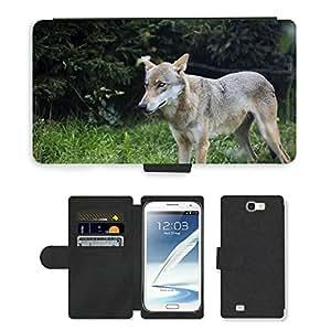 CARD POCKET BOOK CASE PU LEATHER CASE // M00103910 Wild Wolf Naturaleza Bosque Animal // Samsung Galaxy Note 2 II N7100