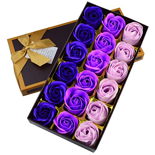 Nydotd 18 Pcs Artificial Rose Floral Scented Bath Soap Rose Flower Petals, Plant Essential Oil Soap Set Petals Gifts for Women Teens Girls Mom Birthdays Anniversary Wedding Valentine
