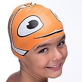 Silicone Swimming Cap for Kids from Swim Elite - Children Swim Cap for Boys and Girls Aged 4-12 - Fun Waterproof Junior SwimCap