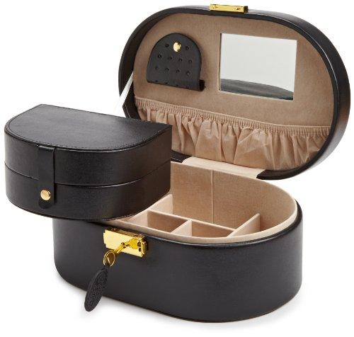Heritage Jewelry - WOLF 280502 Heritage Oval Jewelry Box, Black