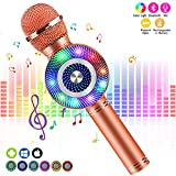 FISHOAKY Karaoke Microphone[Updated], Kids Wireless Bluetooth Karaoke Machine Portable Mic Player Speaker with LED for Christmas Birthday Home Party KTV Outdoor