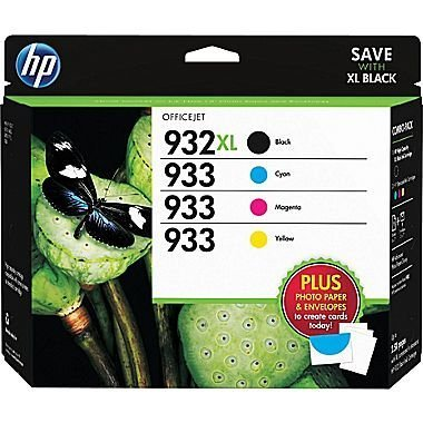 Photo - 2 X HP 932XL/933 High Yield Black and Standard C/M/Y Color Ink Cartridges, (D8J69FN#140) w/Media Value Kit 4/Pack