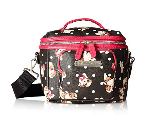 Betsey Johnson Women's Puppies Print Lunch Tote Black/Fuchsia One Size