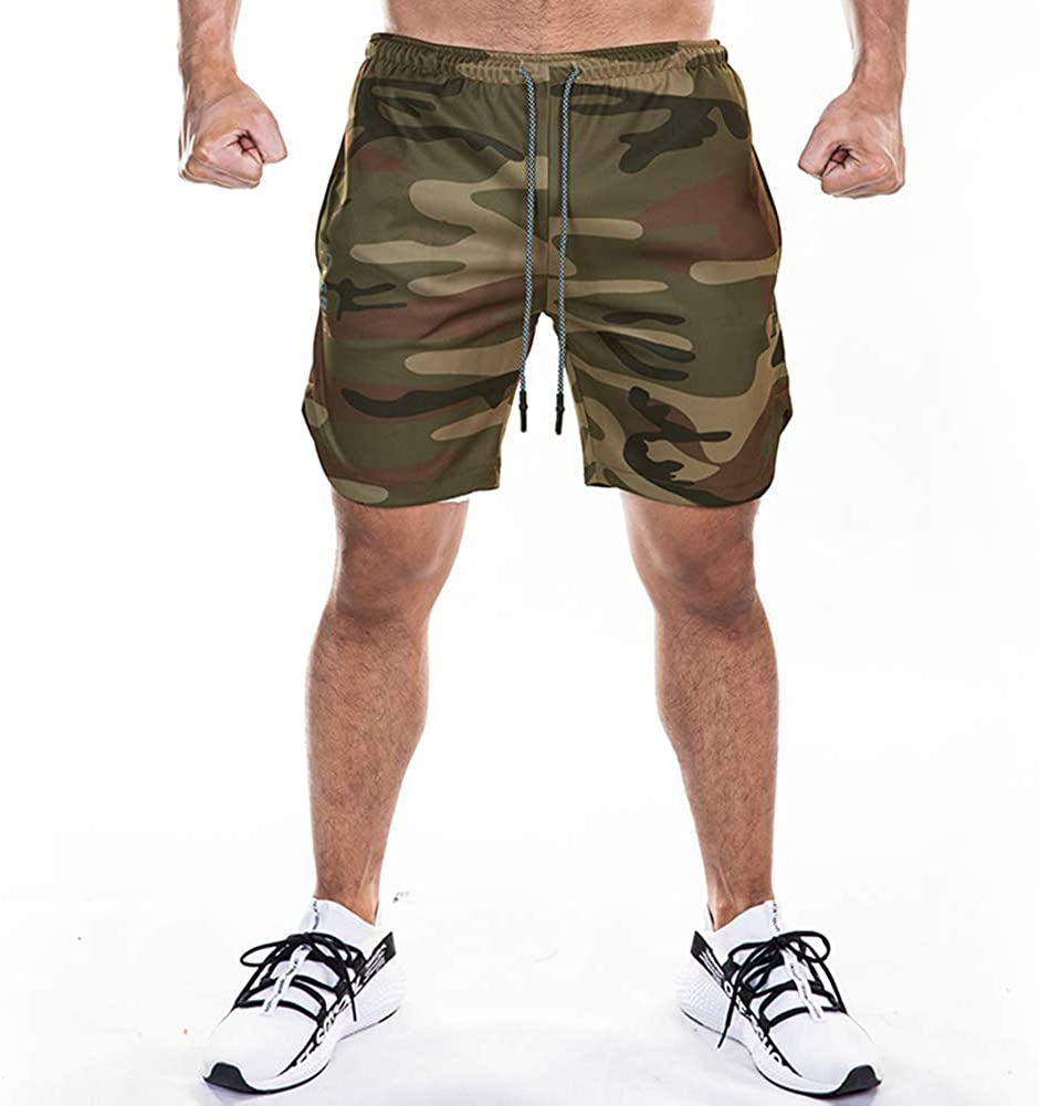 Mechaneer Mens 2-in-1 Running Shorts 7 Gym Workout Quick Dry Training Compression Short Pants