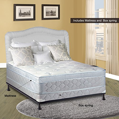 Spinal Solution, 11-Inch Medium plush Foam Encased Eurotop Pillowtop Innerspring Mattress And 4-Inch Wood Traditional Box Spring/Foundation Set, Full Size 74