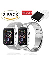 (2 Pack) Watch Band 42mm 44mm Milanese Loop Stainless Steel, GP Watch Metal Bands Bracelet compatible for 42mm 44mm iWatch Apple Watch Series 4, 3, 2,1, Sports & Edition, W/ 2 Screen Protectors