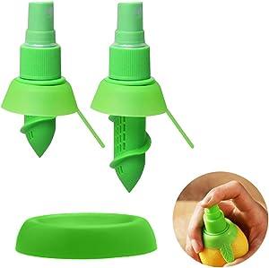 TIYOORTA 2PCS Lemon sprayer gadget, Green Citrus Sprayer Set,Lime Juicer Extractor for Vegetables, Salads, Seafood and Cooking Fashionable Kitchen Gadget,Orange Juicer Mini Squeezer