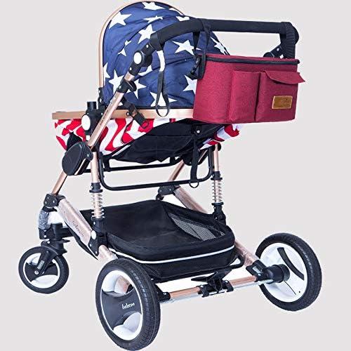 SIONCEN Baby Stroller Organizer Bag For Baby Stuff For Mom Travel Hanging Carriage Pram Buggy Cart Bottle Bag Stroller Accessories Red