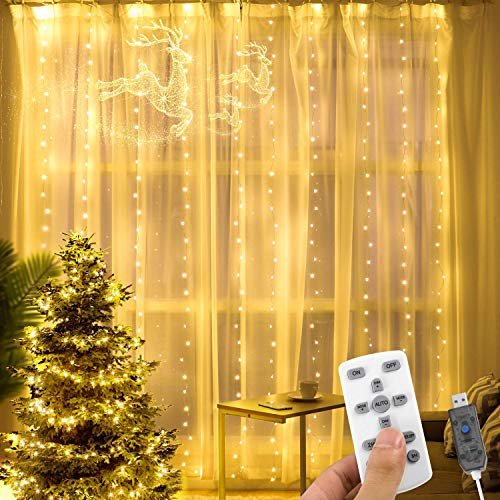 AGPTEK Cortina de Luces LED 3 * 3M 300 LED USB Luz Cadena Navidad Impermeable con 8 Modos y 15 Brillos, Recortable con Control Remoto para Fiesta/Boda/Navidad, Blanco Cálido