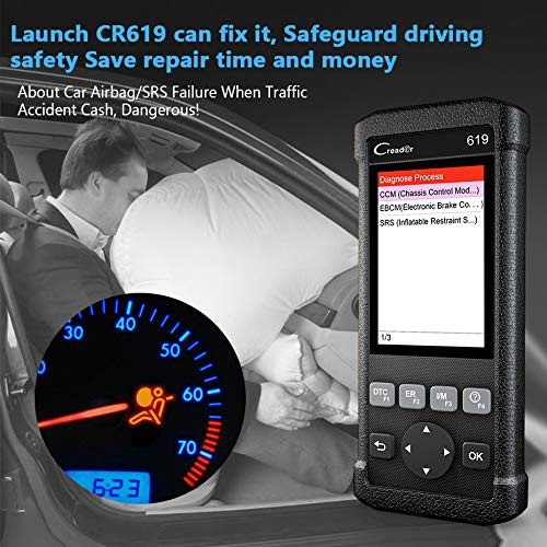 LAUNCH OBD2 SRS Scanner X431 Creader CR619 Check Car Computer Engine ABS Airbag Light Fault Code Readers Automotive Diagnostic Scan Tool with EVAP/O2 Test by LAUNCH (Image #4)