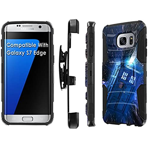 Galaxy S7 Edge [5.5 Screen] Armor Case [SlickCandy] [Black/Black] Heavy Duty Defender [Holster] [Kick Stand] Phone Case - [Tardis] for Samsung Galaxy S7 Sales