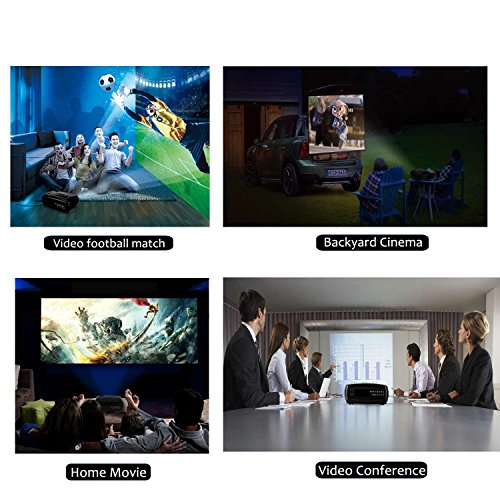 Video Projector,FUJSU 1080P Full HD Office PowerPoint Overhead Projectors with HDMI High Brightness for Laptop Business Presentations Home Movie Games Party Display AV TV iPhone Android Support