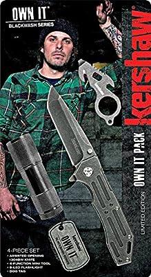 Kershaw 1304BW Folding Knife Own It 4 Piece Set w/ Mini Tool, Flashlight, and Dog Tag