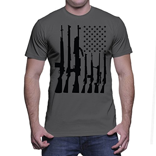 HAASE UNLIMITED Mens Big American Flag With Machine Guns T-Shirt (Large, Charcoal) Gun Tee