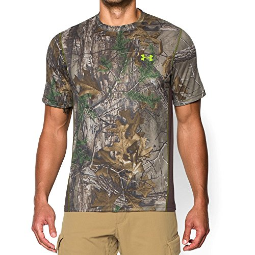 Under Armour Men's Tech Scent Control T-Shirt, Realtree Ap-Xtra /Velocity, Medium (Under Armour Realtree Camo Shirt)