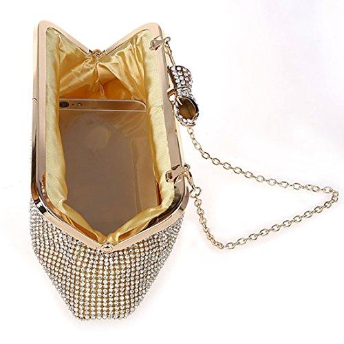 YYW Glitter Clutch Bag - Cartera de mano para mujer Red